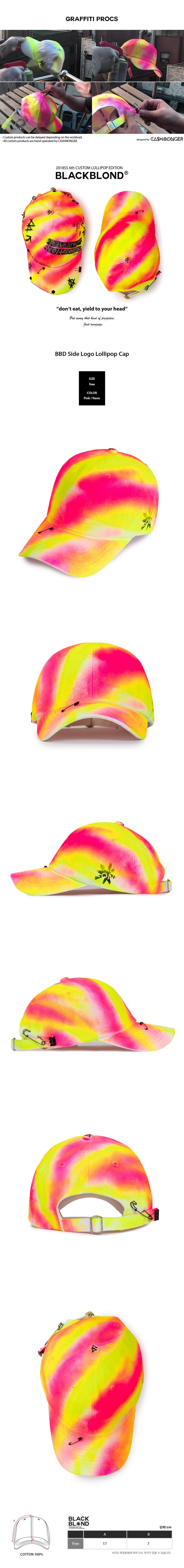 (8/29부터 순차발송)블랙블론드 BLACKBLOND - BBD Side Logo Lollipop Cap (Pink/Neon)